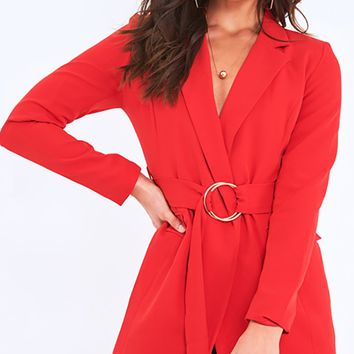 Sounds Like A Plan Long Sleeve V Neck Cross Wrap Belted Blazer Jacket Outerwear - 3 Colors Available