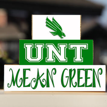 University of North Texas - Trio Wood Blocks Stack - Green/White - Home Decor/Gift - Denton Texas- Wooden Blocks