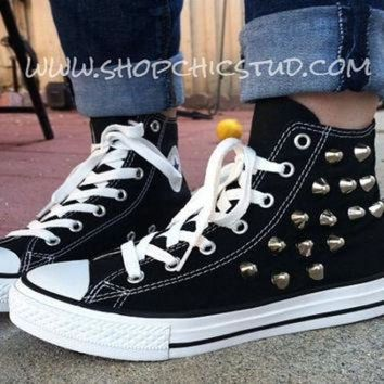 DCKL9 Studded Chuck Taylor ANY SIZE Converse All Stars Hi Top Black