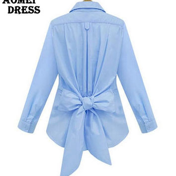 S 5XL Women's Blouse with Bowtie Autumn Winter Sashes Tops Blue White Solid Color Long Sleeve Ladies Plus size  Clothing Shirts