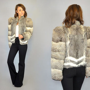 STRIPED avant garde rocker boho cropped vtg 80's RABBIT FUR bomber jacket coat, extra small-small