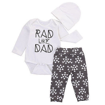 New 2016 fashion baby boy clothes baby clothing set Newborn Baby Boy Girl Romper Long Pants 3pcs Outfits Set RAD Clothing