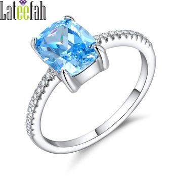 Women Created Aquamarine Cocktail Female Ring