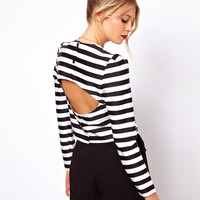 ASOS | ASOS Top with Open Back in Stripe Print at ASOS