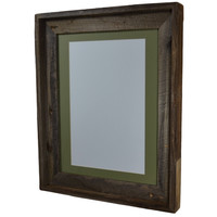 11x14 wood picture frame with 8x10 green mat and stunning natural colors