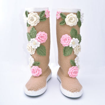 Crochet Boots for the Street Pastel Colors Folk Tribal Boots Boho Boots Made to Order Tender