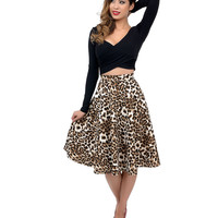 Leopard High Waisted Scuba Swing Skirt