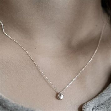 Jsmpfy 925 Sterling Silver Necklace&Pendants  Simple Design Tiny Water Drop Shape Pendant Necklaces For Women Students Collares