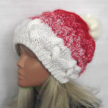Super Chunky Hand Knit Slouchy Hat ,Christmas Hat,Santa Hat,Large Hat,Slouchy Christmas Santa Hat Unisex,Red White,Fur PomPom