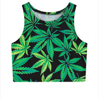 New Women's Weed Leaf Graphic Crop Tops