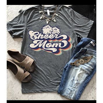 Retro Cheer Mom shirt sleeve