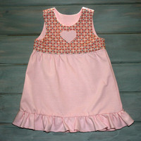 Pink | jumper | dress | pinafore | for | baby | 6M - 12M | Girl clothes | infant | dresses | Handmade | Cotton | Adjustable shoulder | gifts