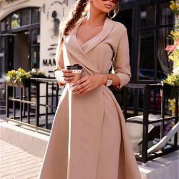 Fall 2017 Fashion Women Dresses Autumn Winter Vintage Prom Party Casual Dresses Plus Size Women Clothing