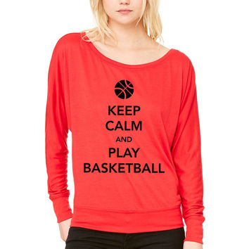 Keep Calm and Play Basketball WOMEN'S FLOWY LONG SLEEVE OFF SHOULDER TEE