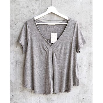 Free People All You Need Ruched V-Neck Tee - Bitter Olive