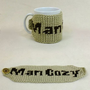 Man Coffee Cozy Mug Warmer Brown Beige Crochet Cup Barista Funny Gag