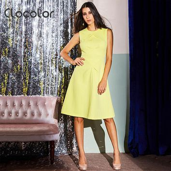 Clocolor Women Vintage Ball Dress Spring O Neck Sleeveless Yellow Knee Length Zipper A-Line Female Retro Party Elegant Dresses