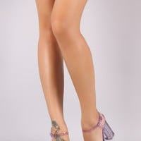 Qupid Jewels Embellished Clear Ankle Strap Chunky Heel