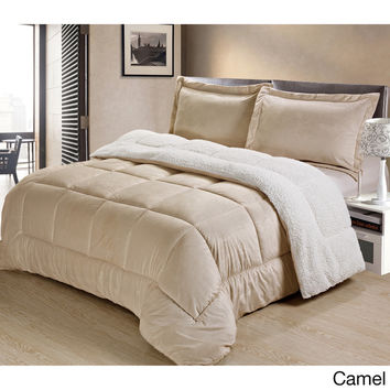 Ultra Mink Faux-Fur and Sherpa 3-piece Comforter Set | Overstock.com Shopping - The Best Deals on Comforter Sets