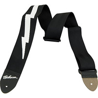 Gibson Lightning Bolt Style 2 Inch Safety Guitar Strap, Jet Black