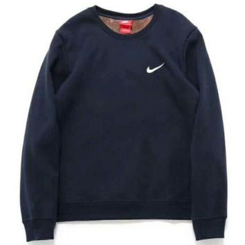 DCCKN6V NIKE Women/Men Fashion Long Sleeve Round Neck Pullover Sweater Sweatshirt Navy blue  G-A-BM-YSHY