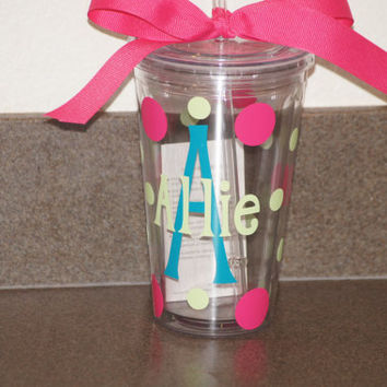 Personalized Tumbler: 16 oz Acrylic Insulated Double Walled Tumbler Cup With Lid and Matching Straw