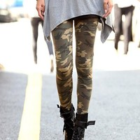 Women's Army Green Personalised Camouflage Print Fashion Slim Nine's Legging