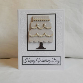Wedding Card, Paper Handmade Greeting Card, Happy Wedding Day, Blank Card, Married, Wedding Cake, Wedding Celebration, Black and White