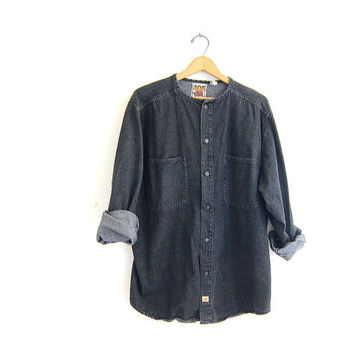 Vintage black denim Shirt. Long Sleeve Jean Shirt. Oversized Button Up Collarless Shirt. Pocket Shirt.