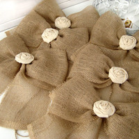 NEW Burlap Bow Rustic Wedding Fabric Rose Set of 12 Pew Bows
