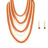 GAME DAY ORANGE & WHITE BEADED NECKLACE AND EARRING SET