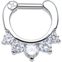 "14 Gauge 1/4"" Five Clear Cubic Zirconia Septum Clicker 