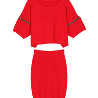 Red Zipper Short Sleeve Sweater And Midi Pencil Skirt