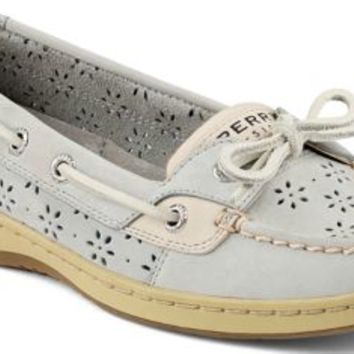 Sperry Top-Sider Angelfish Floral Perf Leather Boat Shoe LightGrayPerfLeather, Size 9.5S  Women's Shoes