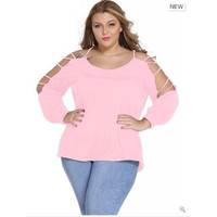 Plus Size T-shirt Women Fashion Casual Tops Sexy Coat [8833374604]