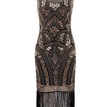1920s Sequin Fringe Flapper Dress