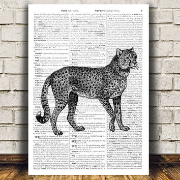 Cheetah decor Dictionary poster Animal print Modern print RTA437