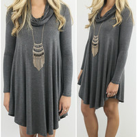 Crown Heights Dark Gray Cowl Neck Long Sleeve Curved Hem Dress