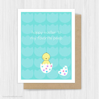 Easter Card Cute Baby Chick Funny Pun Happy Easter Cards For Friend Daughter Son Niece Nephew Girl Boy Child Her Him Fun Handmade Greeting