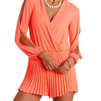 Neon Coral Long Sleeve Pleated Wrap Romper by Charlotte Russe