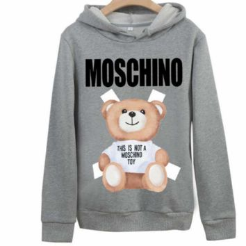 Moschino 2018 new cotton bear print men and women hooded sweater Grey