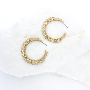 Rose Garden Gold Hoop Earrings