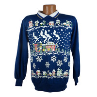 Ugly Christmas Sweater Vintage Sweatshirt Scene Party Xmas Tacky Holiday