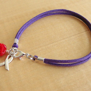 Cystic Fibrosis Awareness Bracelet / Anklet - Purple Cotton with Red Rose