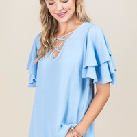 Adaila Double Ruffle Sleeve Lattice Neck Top