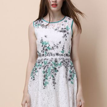 Calmly Green Embroidered Full Lace Dress