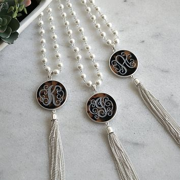 Monogram Tortoise Tassel Necklace