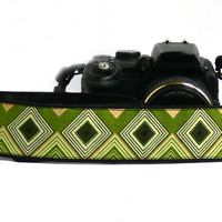 Green Camera Strap. Geometric dSLR Camera Strap. Camera accessories