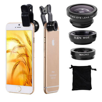 3 in 1 Fish Eye Lens Wide Angle Macro Fisheye Lens Kit Universal For iPhone 4 5 6 For Samsung For HTC Xiaomi Lenovo Camera