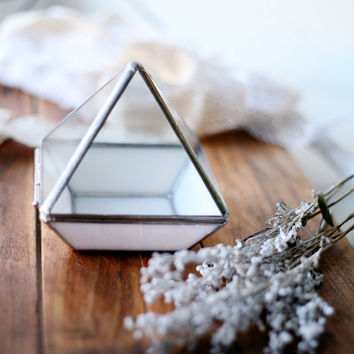 Gentle Glass Ring Box with opaque base/Wedding Ring Box